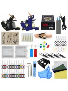 Tatuerings Maskin Kit Ett Svart Och Ett Blå Maskin 20 Färgs