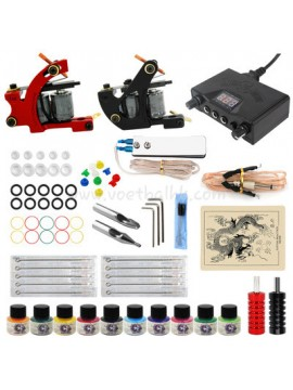 Tatuerings Maskin Kit Ett Svart Och Ett Röd Maskin 10 Färgs